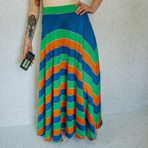 Vintage Striped Flowy Stretch Maxi Skirt